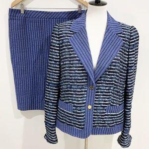 Escada Blue Blazer skirt two piece set suit Sz 42